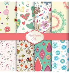 Floral pattern set seamless background vector