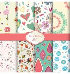 floral pattern set seamless background vector image