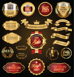 Gold and red retro sale badges and labels vector