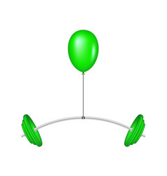 green balloon lifting a heavy barbell vector image vector image