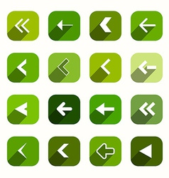 Green Flat Design Arrows Set in Rounded Squares vector image