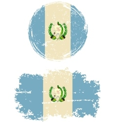 Guatemalan round and square grunge flags vector image vector image