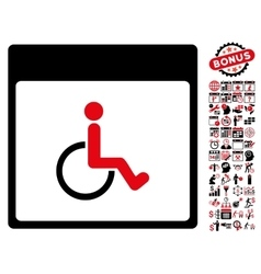 Handicapped calendar page flat icon with vector