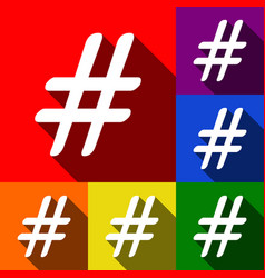 hashtag sign set of icons vector image