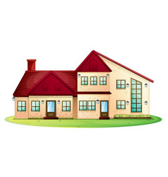 House with red roof with green lawn vector