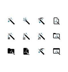 Magician duotone icons on white background vector