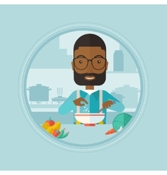 Man putting salt in salad vector