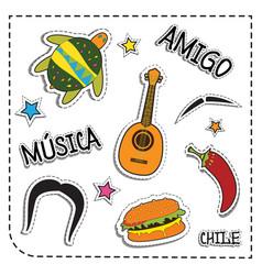Mexican party sticker applique mexico style vector