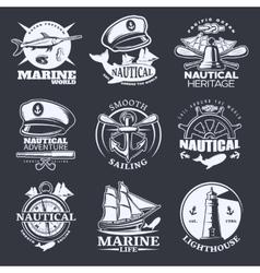 Nautical Emblem Set On Black vector image vector image