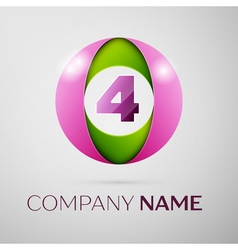 Number four logo symbol in the colorful circle on vector image vector image