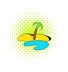 Oasis in the desert icon comics style vector