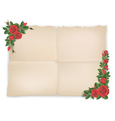 Old paper sheet and red roses vector