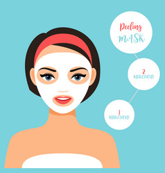Peeling mask for treating skin vector