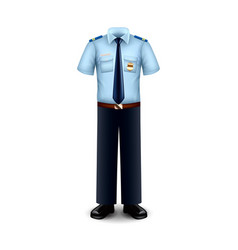 police uniform isolated on white vector image vector image