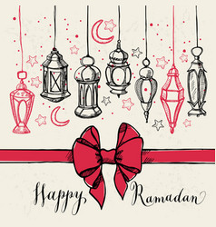 ramadan kareem with lantern and bow vector image