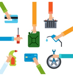 Refueling and repairing hands vector image