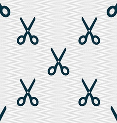 Scissors icon sign seamless pattern with geometric vector