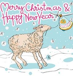 sheep ringing the ball vector image vector image