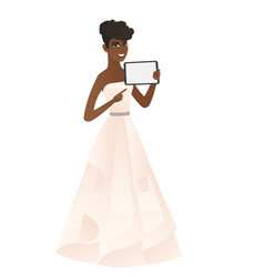 Smiling fiancee holding tablet computer vector