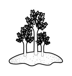 Trees set in grassland in black silhouette with vector