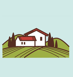 Winery and vineyard farm house winemaking vector