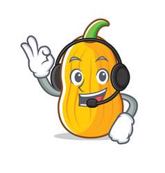With headphone butternut squash mascot cartoon vector