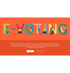 E-voting concept web banner in flat design vector