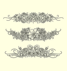 flower and leaves decoration sketches vector image