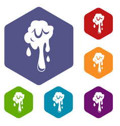 Dripping slime icons set hexagon vector