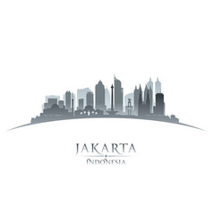 Jakarta indonesia city skyline silhouette white vector