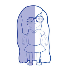 Silhouette pretty girl with glasses and casual vector