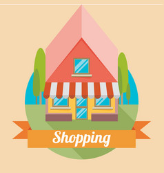 Flat shop building backgound vector