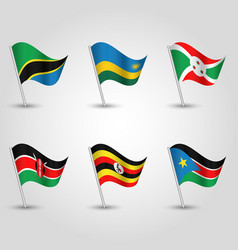 Set of flags states of east african community vector