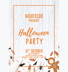 Party flyer with treats for halloween vector