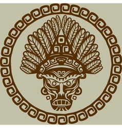 Native american mask in circular pattern vector