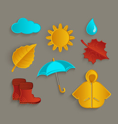 set of flat cartoon style fall autumn objects vector image