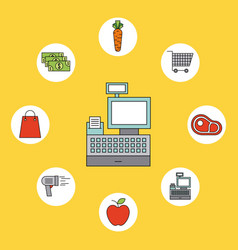 cash register supermarket products food vegetable vector image