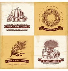 Vintage Thanksgiving labels set vector image