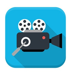 Movie cam flat app icon with long shadow vector