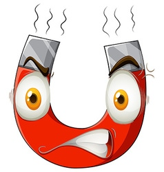 Magnet with angry face vector