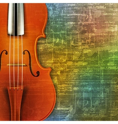 abstract green music grunge background with violin vector image