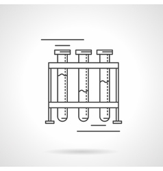 Test-tubes rack flat line design icon vector