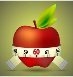 Apple with tape measure vector