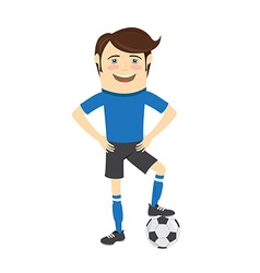 Funny soccer football player wearing blue t-shirt vector