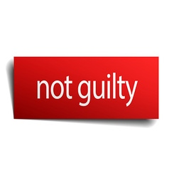Not guilty red square isolated paper sign on white vector