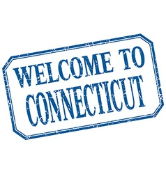 Connecticut - welcome blue vintage isolated label vector