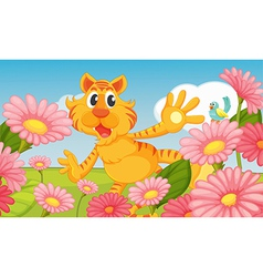 A smiling tiger and a bird vector image vector image