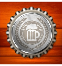 Bottle cap with beer mug vector image vector image