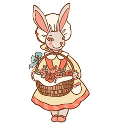 Bunny with flowers vector image