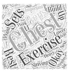 Chest exercise word cloud concept vector